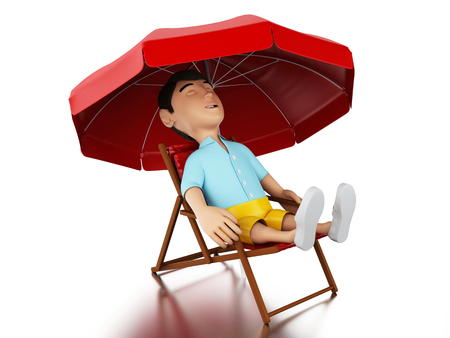 relaxed man: 3d Illustration. Man relaxed on a beach chair. Holidays concept. Isolated white background. Stock Photo