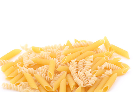 Various types of pasta. Food concept. Isolated white background.