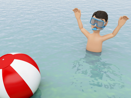 3d illustration. Young people with beach ball in the sea. Summer vacation concept