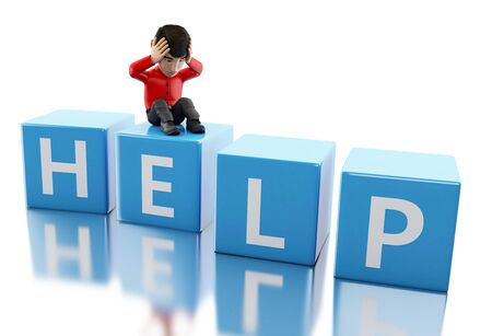need help: 3d illustration. People need help. Isolated white background Stock Photo