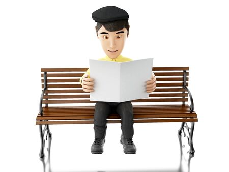 wooden bench: 3d illustration. People reading a newspaper on a wooden bench. Isolated white background Stock Photo