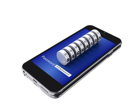 3d illustration. Smartphone with password on the screen and combination padlock. Mobile security concept. Isolated white background