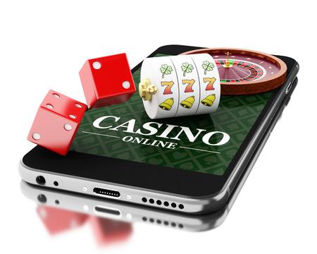 3D-Darstellung. Smartphone mit Roulette und Würfel. Online-Casino-Konzept. Isolierte weißem Hintergrund.