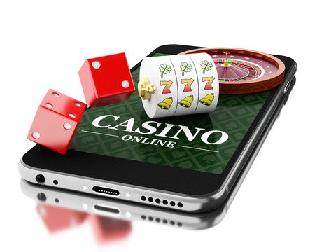 3d Illustration. Smartphone with roulette and dice. Online casino concept. Isolated white background. Foto de archivo