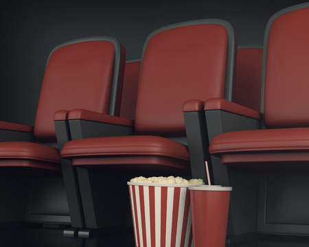 cinematography: 3d illustration. Cinema clapper board and popcorn on theater seat. cinematography concept. Stock Photo