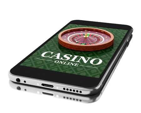 online roulette: 3d Illustration. Smartphone with roulette. Online casino concept. Isolated white background.