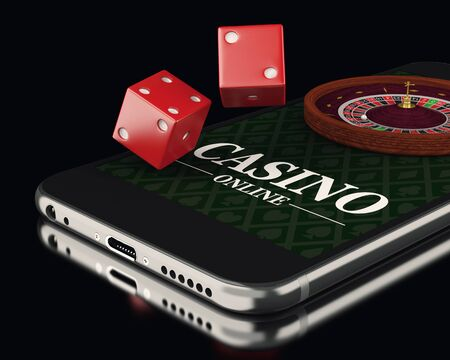 roulette online: 3d illustration. Smartphone with roulette and dice. Online casino concept.