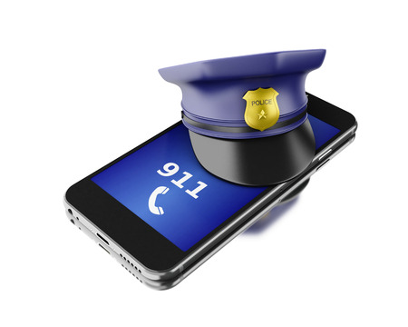 3d Illustration. Smartphone with a police hat. Mobile security services concept. Isolated white background.
