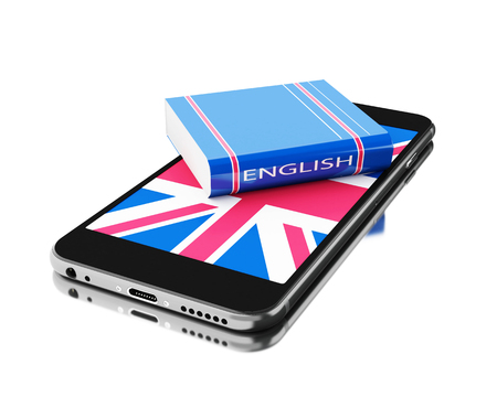 english book: 3d Illustration. Smartphone with english book. Learning languages. Isolated white background.