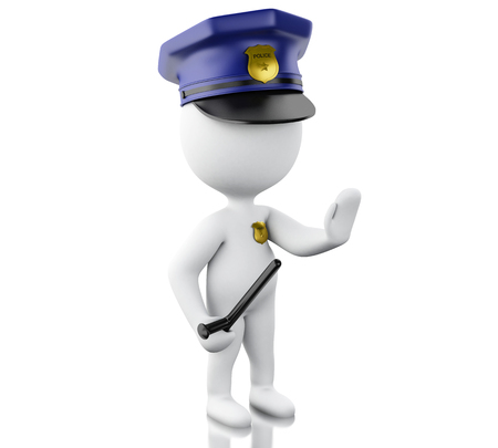 crime prevention: 3d renderer image. Policeman ordered to stop with hand. Isolated white background.