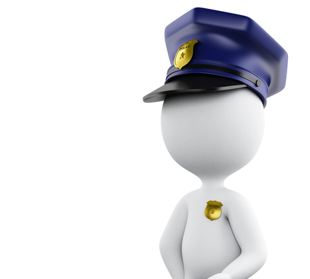 protected: 3d Illustration. Policeman with hat and badge. Isolated white background. Stock Photo
