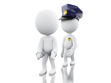 prison guard: 3d Illustration. Policeman arresting a thief. Isolated white background.
