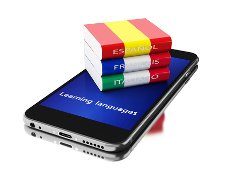textbooks: 3d Illustration. Smartphone with textbooks. Learning languages. Isolated white background.