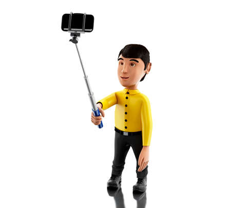 3d Illustration. Man taking a selfie with selfie stick and smartphone. Isolated white background.