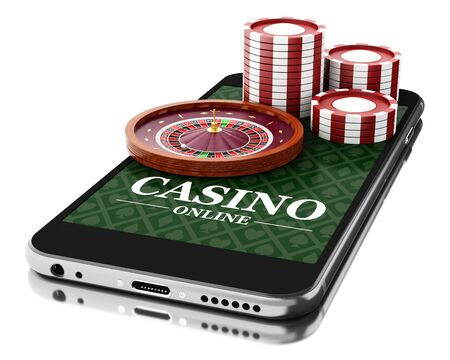 online roulette: 3d Illustration. Smartphone with coins and roulette. Online casino concept. Isolated white background. Stock Photo