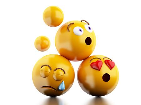 3D-Darstellung. Emojis Symbole mit Mimik. Social-Media-Konzept. Isolierte weißem Hintergrund Standard-Bild - 62810316
