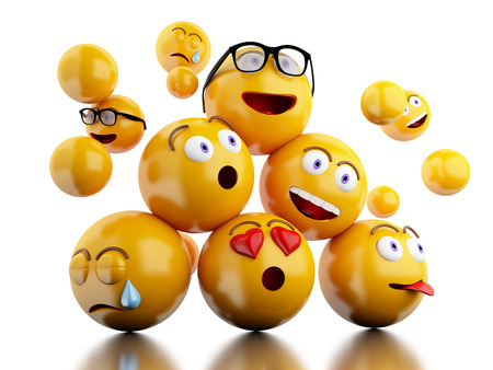 3d illustration. Emojis icons with facial expressions. Social media concept. Isolated white background