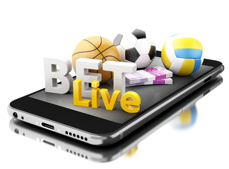 3d renderer image. Smartphone with sport balls, money and bet live. Betting concept. Isolated white background.