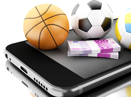 3d renderer image. Smartphone with sport balls and money. Betting concept. Isolated white background.
