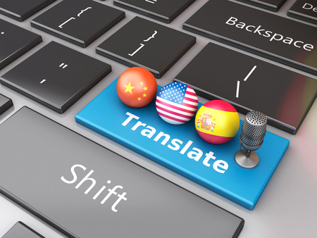 lexicon: 3d renderer image. Translate foreign languages on computer keyboard. Education and translation concept. Stock Photo