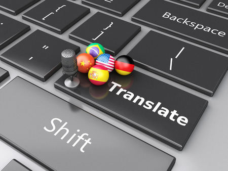 translate: 3d renderer image. Translate foreign languages on computer keyboard. Education and translation concept. Stock Photo