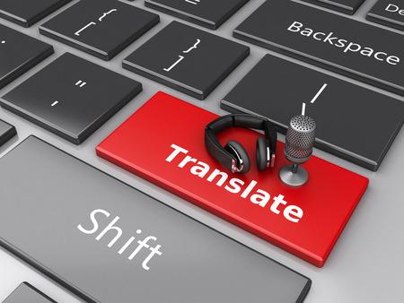 transcription: 3d renderer image. Word translate with mic and headphones on computer keyboard. Translation concept.
