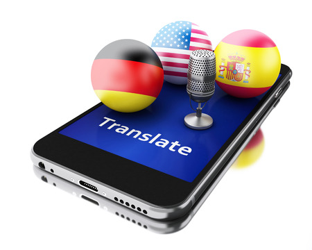translate: 3d renderer image. Translate foreign languages on smartphone. Education and translation concept. Stock Photo