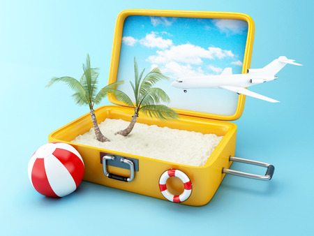 Paradise beach in travel suitcase. Summer Vacation Concept. 3d illustration.