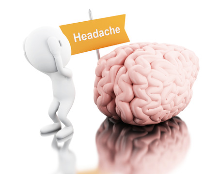 exhaustion: 3D Illustration. White people with headache. Health care concept. Isolated white background.