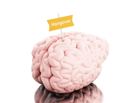 3D Illustration. Brain with a signboard and word hangover. Isolated white background.