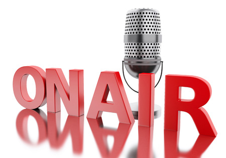 3d renderer image. On air word with a microphone. Isolated white background. Stock Photo