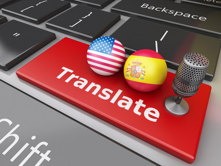 lexicon: 3d renderer image. Translate Spanish and English on computer keyboard. Education and translation concept. Stock Photo