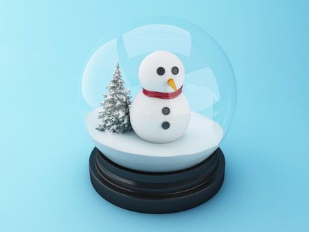 snowdome: 3d renderer image. Snowman in a snow dome. Christmas concept.