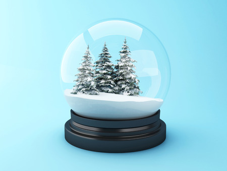 snowdome: 3d renderer image. Snow dome with pine trees. Christmas concept.