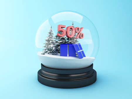 3d renderer image.  Snow dome with trees and red 50% discount. Winter sale concept.