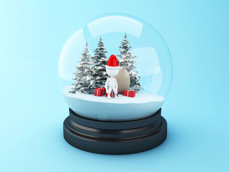 3d renderer image. White people with christmas gifts in snow dome. Christmas concept.