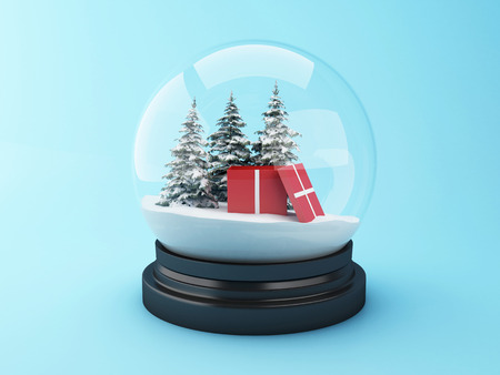 3d renderer image. Snow dome with christmas gift and pine trees. Christmas concept. Foto de archivo
