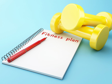 3D Illustration. Dumbbells with a notepad. Healthy lifestyle concept. Stock Photo