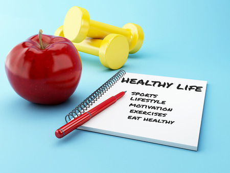 3D Illustration. Apple with a notepad and dumbbell. Healthy and diet concept.