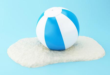 balon voleibol: 3D Illustration. Beach ball on sand. Summer concept.