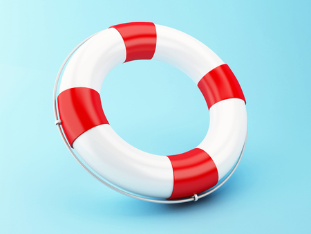 life bouy: 3D Illustration. Red life bouy on blue background.