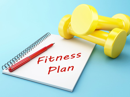 muscle toning: 3D Illustration. Dumbbells with a notepad. Healthy lifestyle concept. Stock Photo