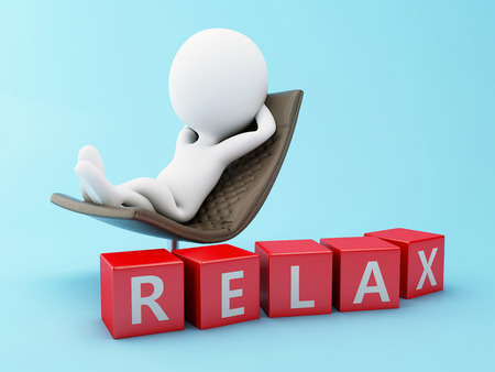 3d renderer image. White people relax on a chair. Isolated blue background.