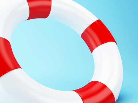 lifejacket: 3D Illustration. Red life bouy on blue background.
