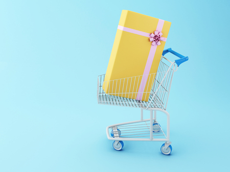 comercial: 3D Illustration. Shopping cart and a gift box. Comercial concept.