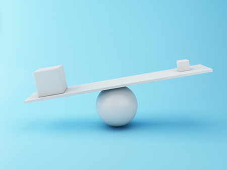 equilibrium: 3D Illustration. Different cubes balancing on a seesaw. Business concept.