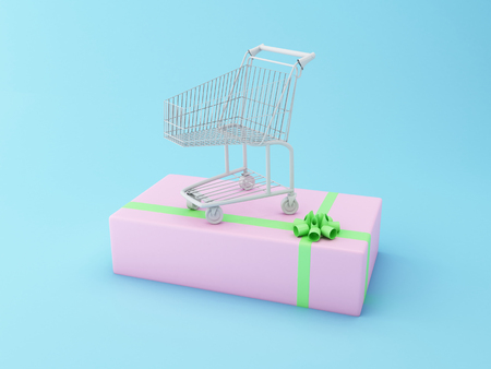 comercial: 3D Illustration. Shopping cart on a big gift box. Comercial concept.