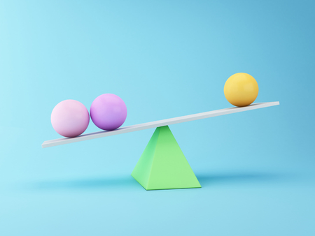 totter: 3D Illustration. Spheres Balancing on a Seesaw. Business concept.
