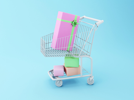 comercial: 3D Illustration. Shopping cart with gift boxes. Comercial concept.