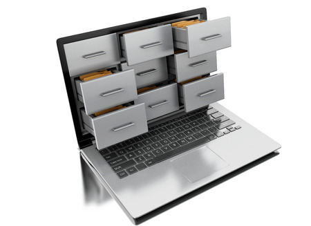 3d renderer image. Files and folders in laptop. Archive concept. Isolated white background. Reklamní fotografie - 64672741